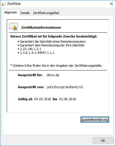 SSL-Zertifikat der Firma DMCW UG